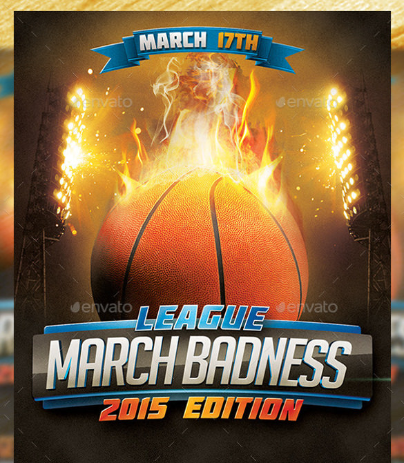 march badness basketball flyer template