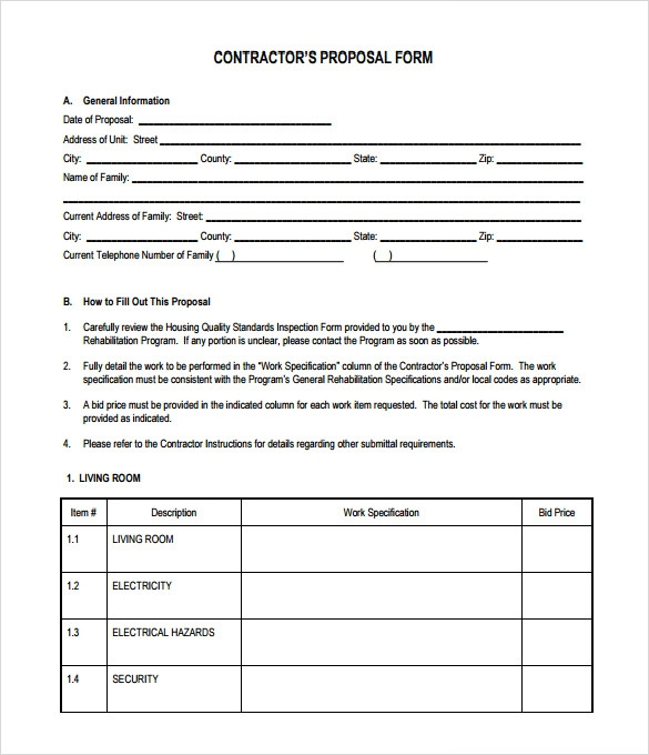 Bid Proposal Template Image Result For Construction Business Forms