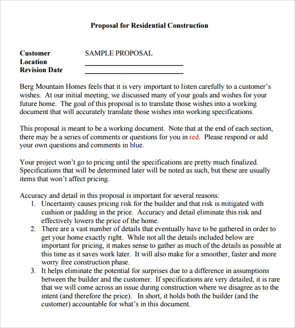 Sample Contractor Proposal 7 Documents in PDF Word – Contractor Proposal Template
