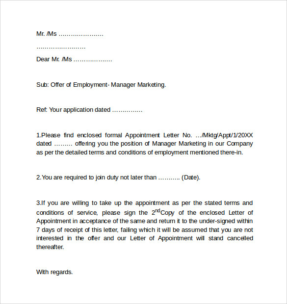 sample cover letter for employment