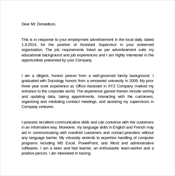 Employment Cover Letter  First Job Cover Letter Examples Within