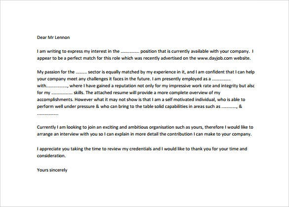employment cover letter pdf