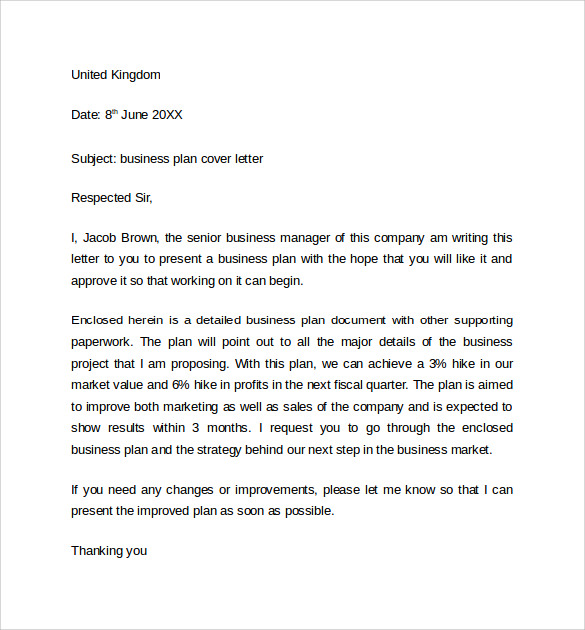 sample cover letter for business plan sample business proposal - Financial Cover Letter