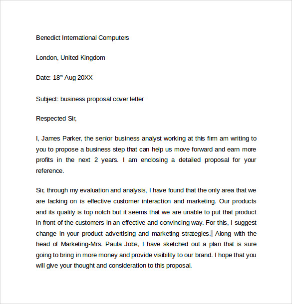 Business Proposal Cover Letter. Sales Proposal Cover Letter