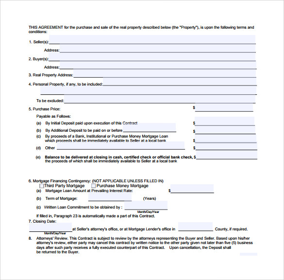Real Estate Contract Templates   Download Free Documents In Pdf