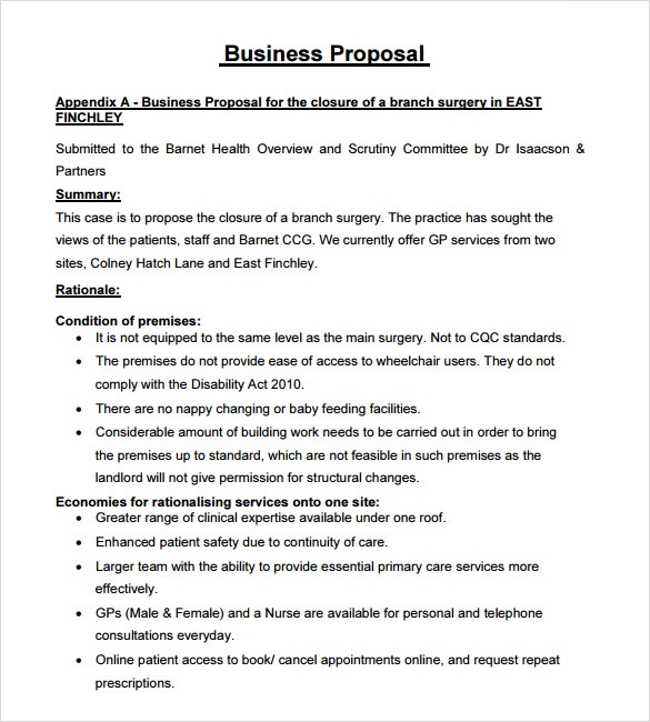Business proposal example