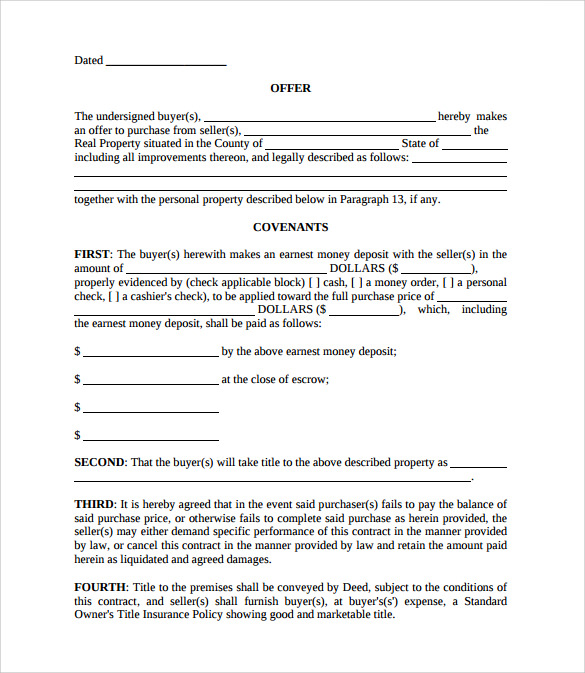 Purchase Offer Template. Sample Real Estate Purchase Agreement