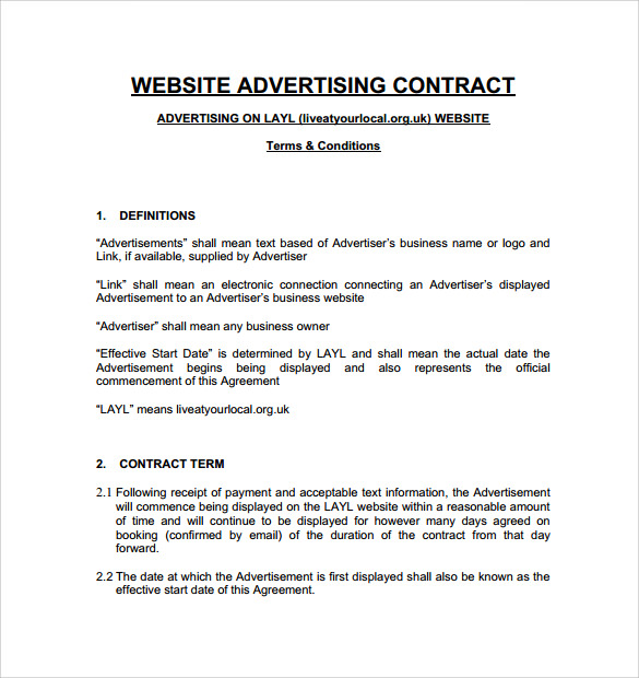 Advertising Contract Template   Download Free Documents In Pdf