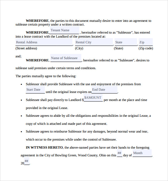 Sublease Contract Templates   Download Free Documents In Pdf  Word
