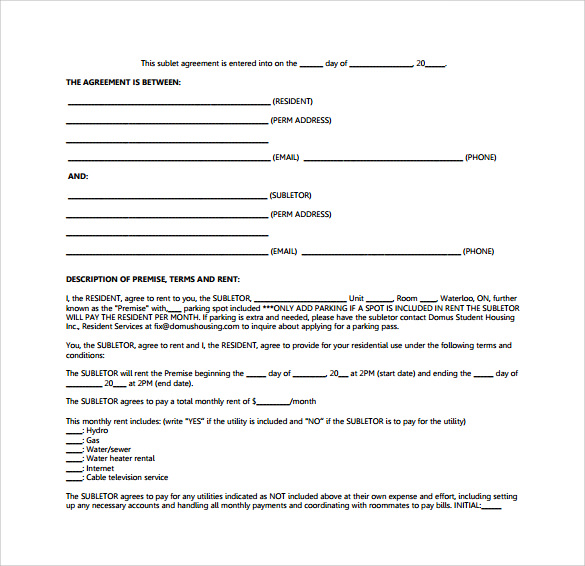 Sublease Contract Templates 8 Download Free Documents in PDF Word – Sublease Agreement Template Free