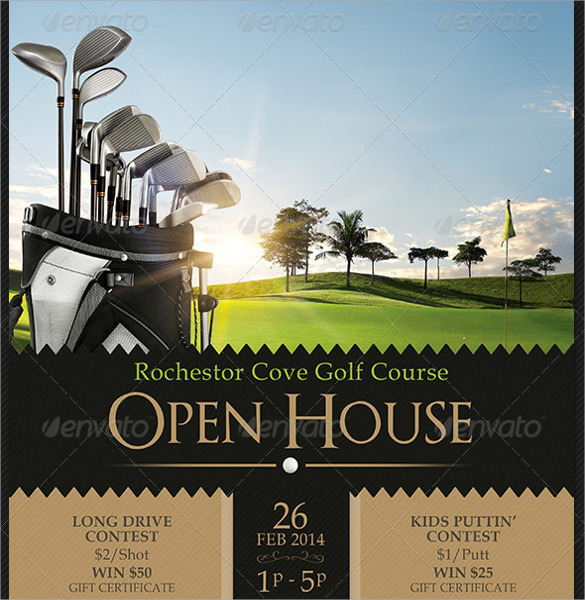 golf course open house flyer template