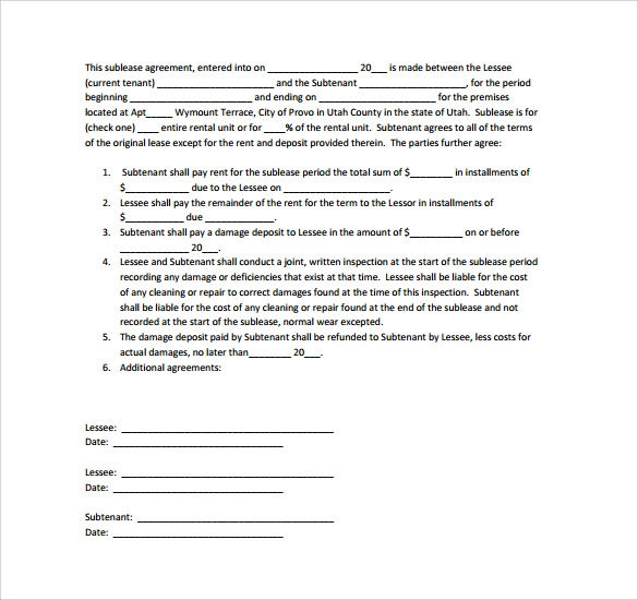 Sublease Contract Templates 8 Download Free Documents in PDF Word – Sublet Contract Template