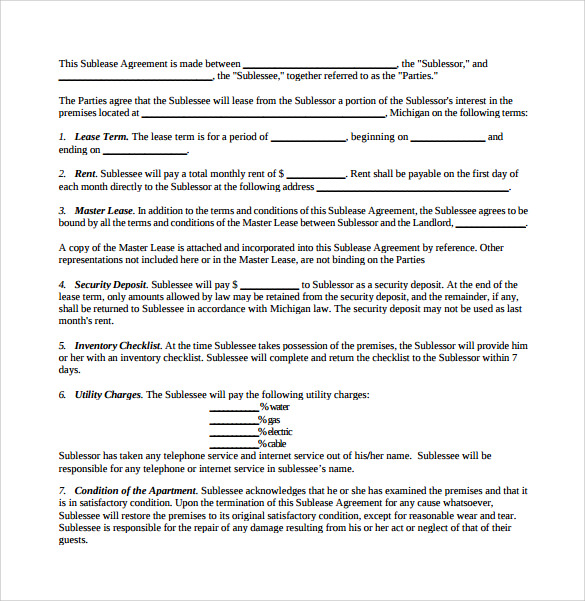 Sublease Contract Templates - 8+ Download Free Documents In Pdf , Word