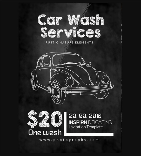 Chalkboard Car Wash Flyer Template