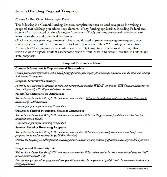 Sample Funding Proposal Template   Free Documents In Pdf Word