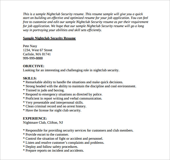 nightclub security resume resume - Security Resume Sample
