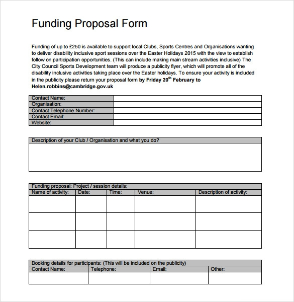 funding proposal form template