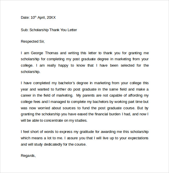 example scholarship thank you letter