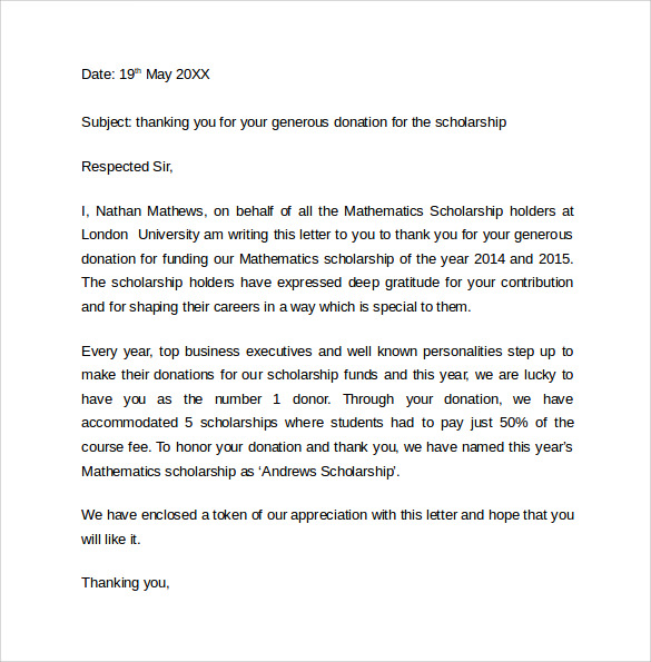 Sample thank you letter for scholarship 9 download free scholarship thank you letter example expocarfo