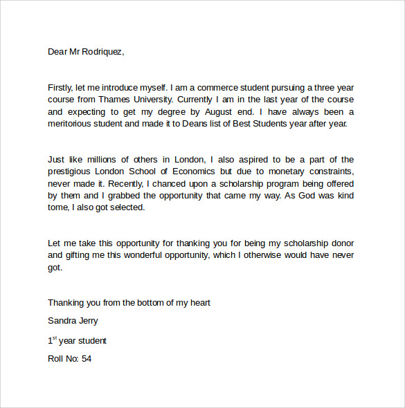 sample thank you letter for scholarship