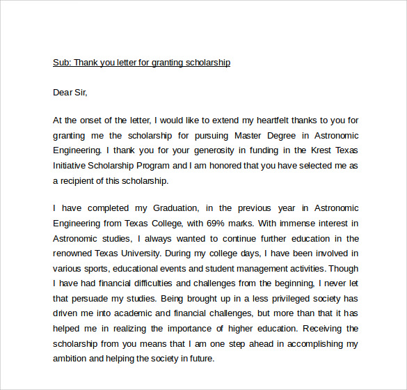 thank you letter to scholarship donor template
