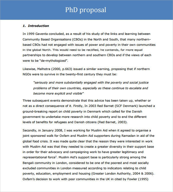 phd proposal template word