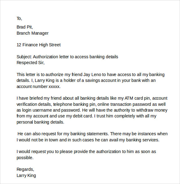 Authorize Letter For Bank from images.sampletemplates.com
