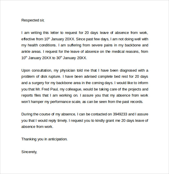 Leave of absence due to illness in the family letter