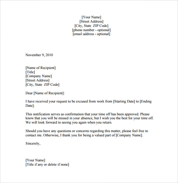 pdf download leave of absence letter