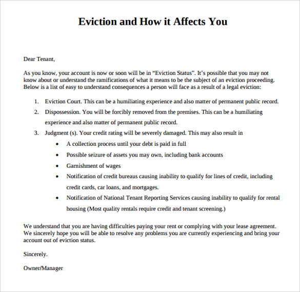 Eviction Letters   7  Download Free Documents In PDF WORD qi76SowT