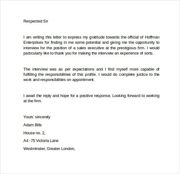 interview follow up letter sample follow up letter 9 free 11933 | Interview Follow Up Letter Template