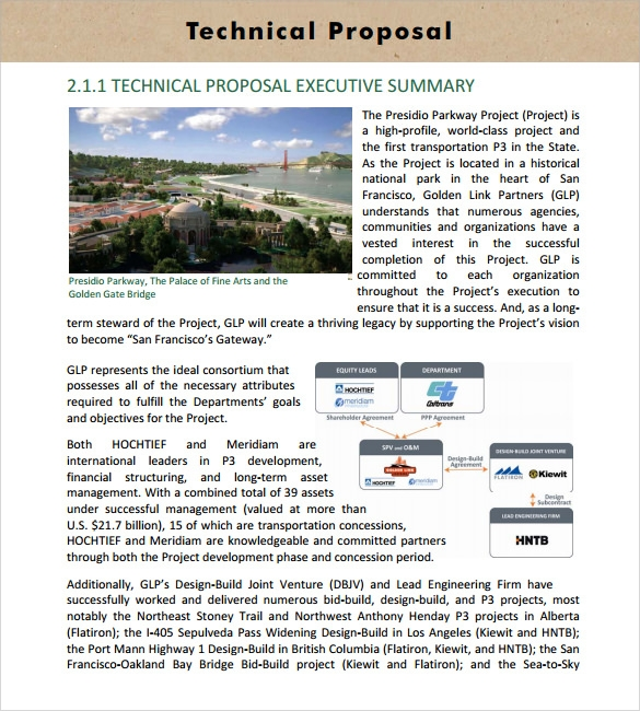 Sample Technical Proposal   Documents In Psd Word