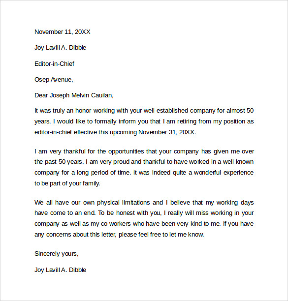 Sample Resigning Letters 10 Download Free Documents in Word PDF – Sample Letter of Resignation for Retirement