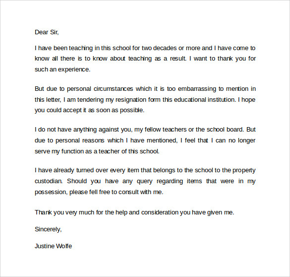 teacher resigning letter