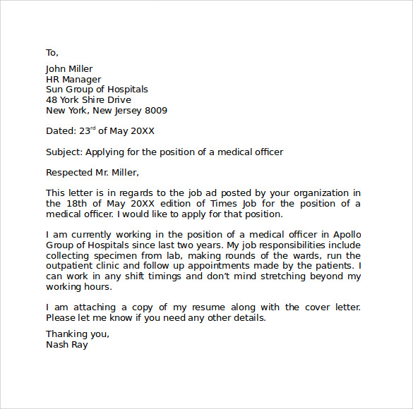 covering letter for job application format