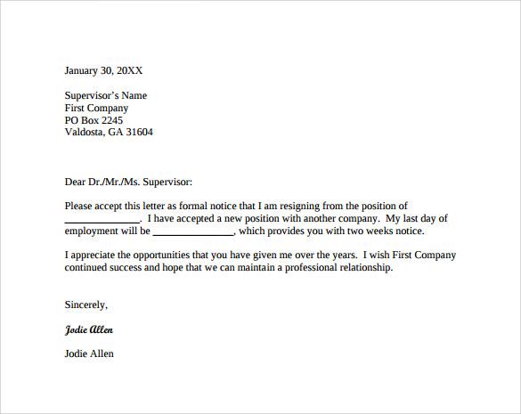 resigning letter sample