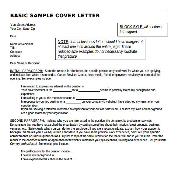 Sample generic cover letter