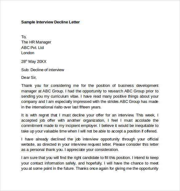 decline a job interview sample letter 8 sample letter of explanations sample templates 26861 | Sample Interview Decline Letter1