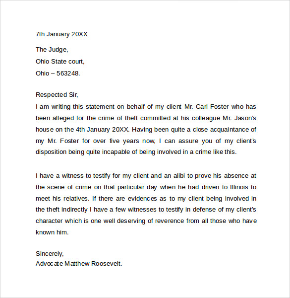 Sample Character Letter For Court Templates 8 Download