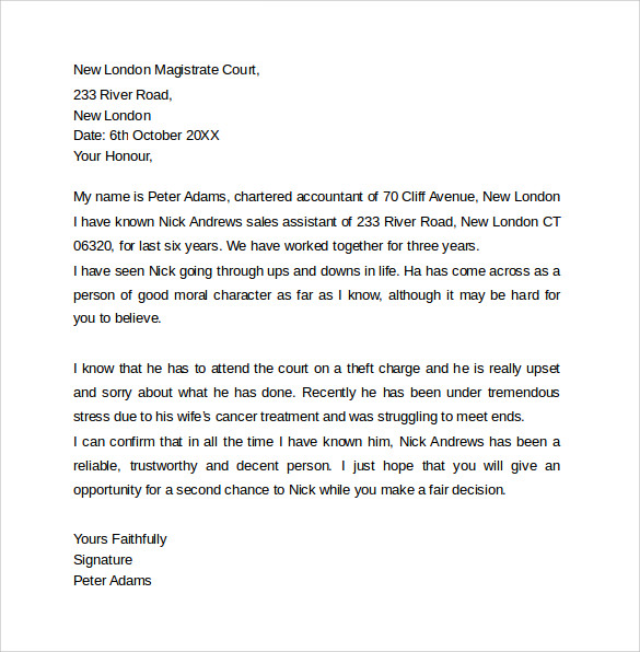 Sample Character Letter For Court Templates   Download Free