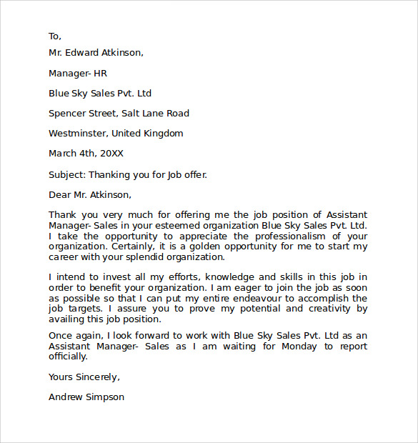 sample formal letter format      download free documents in word    formal thank you letter format
