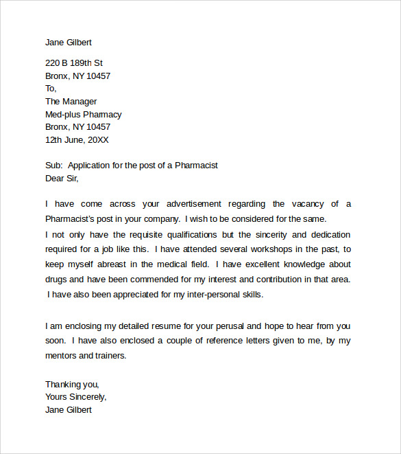 sample pharmacist cover letter for resume letter pinterest