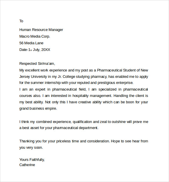 Cover Letter For Pharmacy Technician: Sample Pharmacist Letter Template