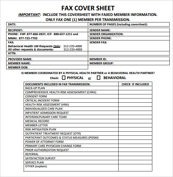 confidential bluecross fax cover sheet