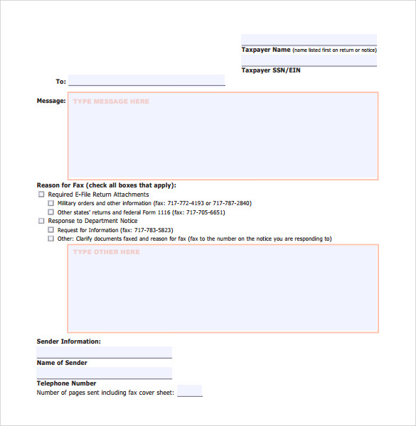 personal income tax cover sheet
