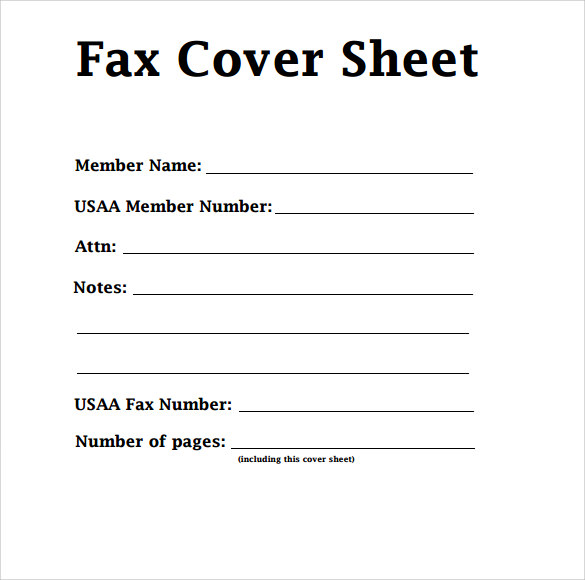 Fax Cover Example - Template