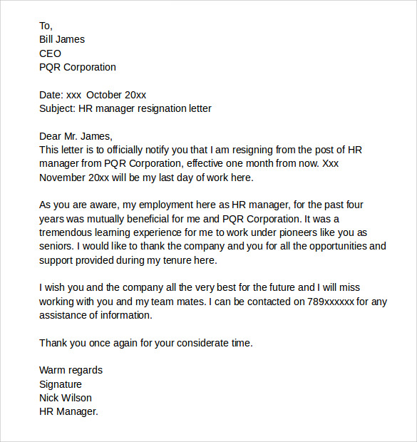 resignation letter example download for free