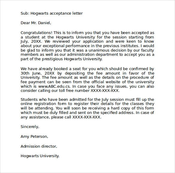 Sample Hogwarts Acceptance Letter 8 Download Documents in PDF – Hogwarts Acceptance Letter