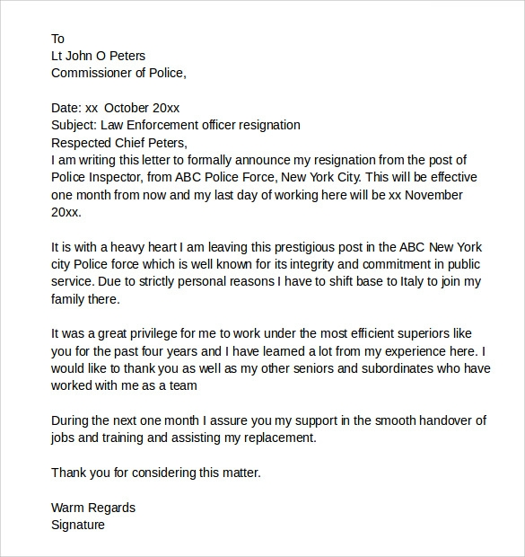 Law Enforcement Resignation Letter