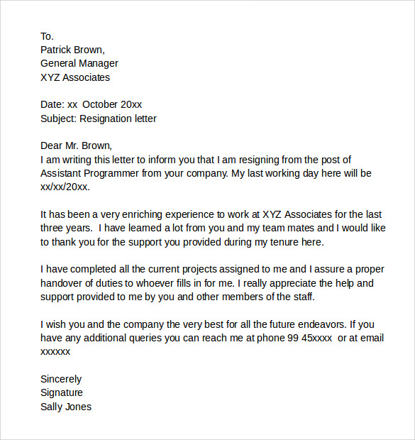 Sample Resignation Letters